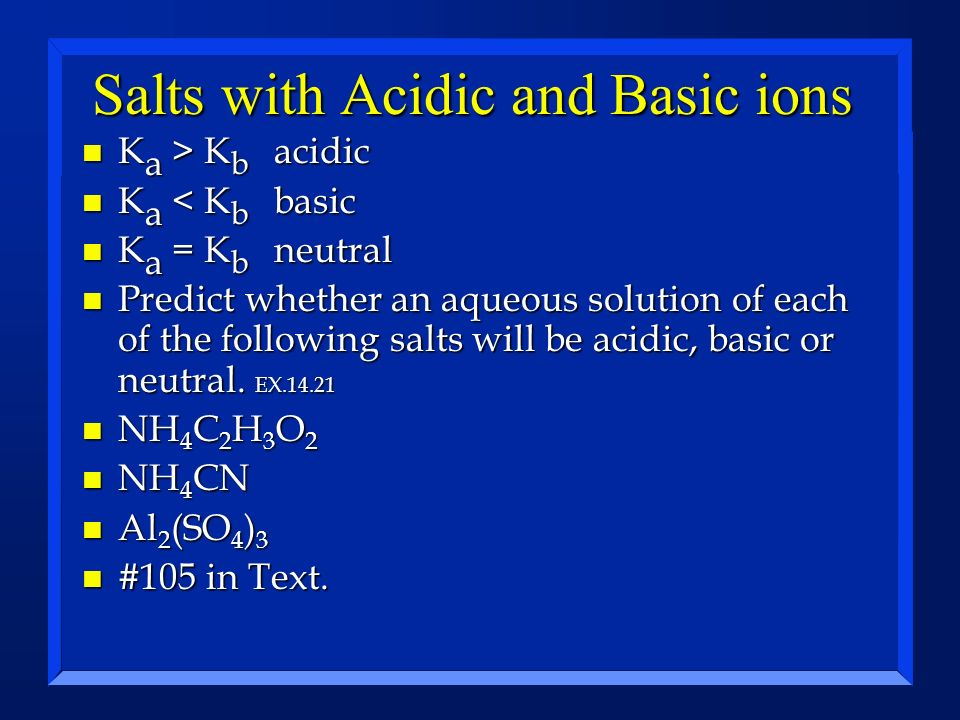 Salts with Acidic and Basic ions