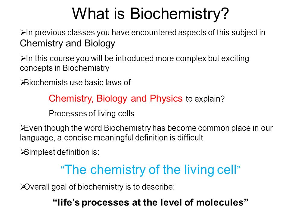 Fundamental concepts of chemistry in biology
