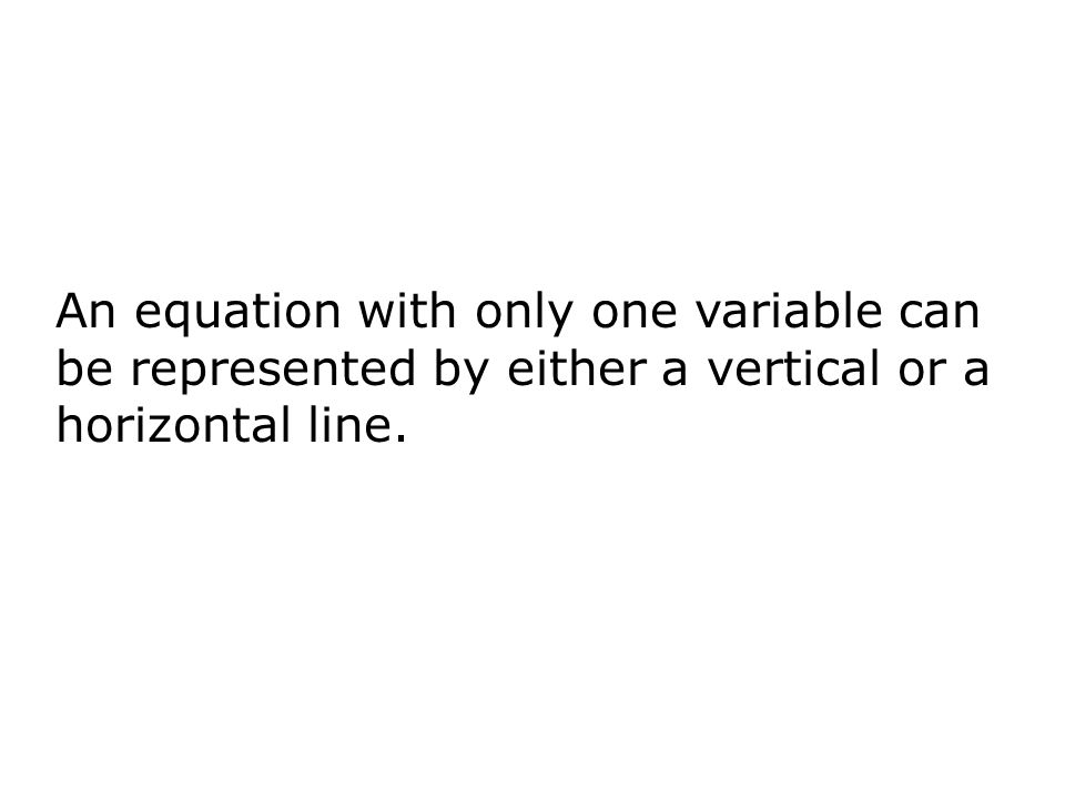 An equation with only one variable can be represented by either a vertical or a horizontal line.