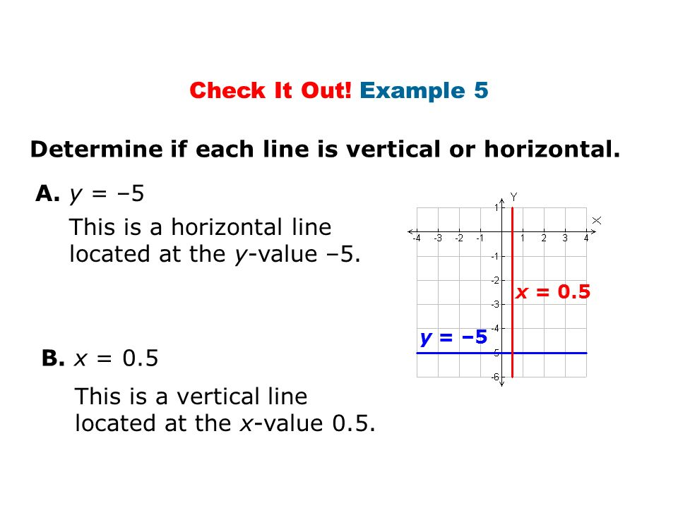 Determine if each line is vertical or horizontal.