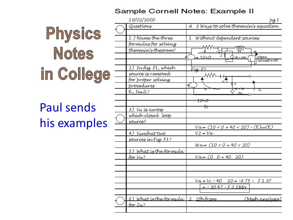 Physics Notes in College