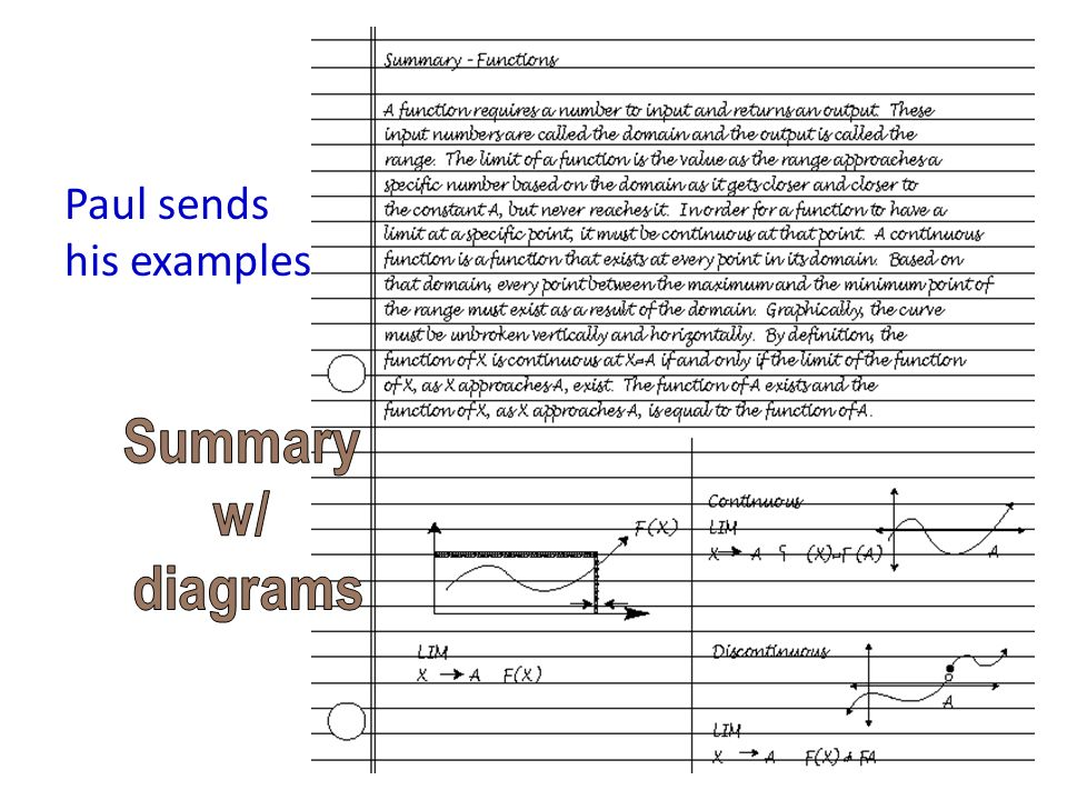 Paul sends his examples Summary w/ diagrams
