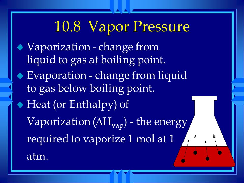10.8 Vapor Pressure Vaporization - change from liquid to gas at boiling point. Evaporation - change from liquid to gas below boiling point.
