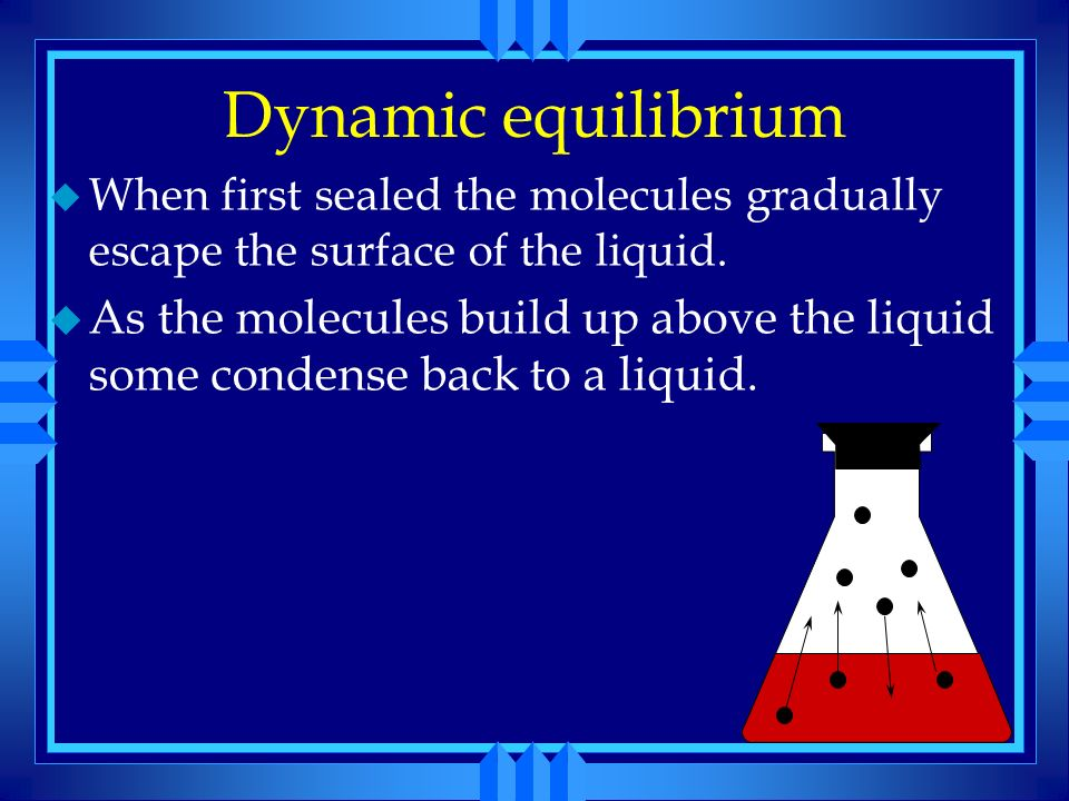 Dynamic equilibrium When first sealed the molecules gradually escape the surface of the liquid.