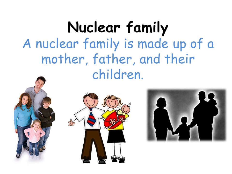 A nuclear family is made up of a mother, father, and their children.