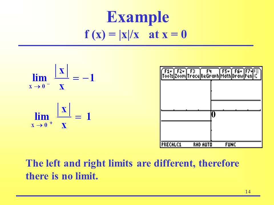 Example f (x) = |x|/x at x = 0