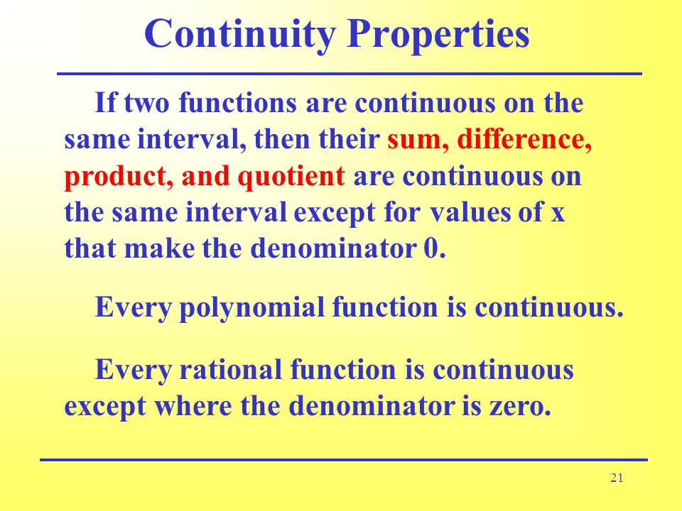 Continuity Properties