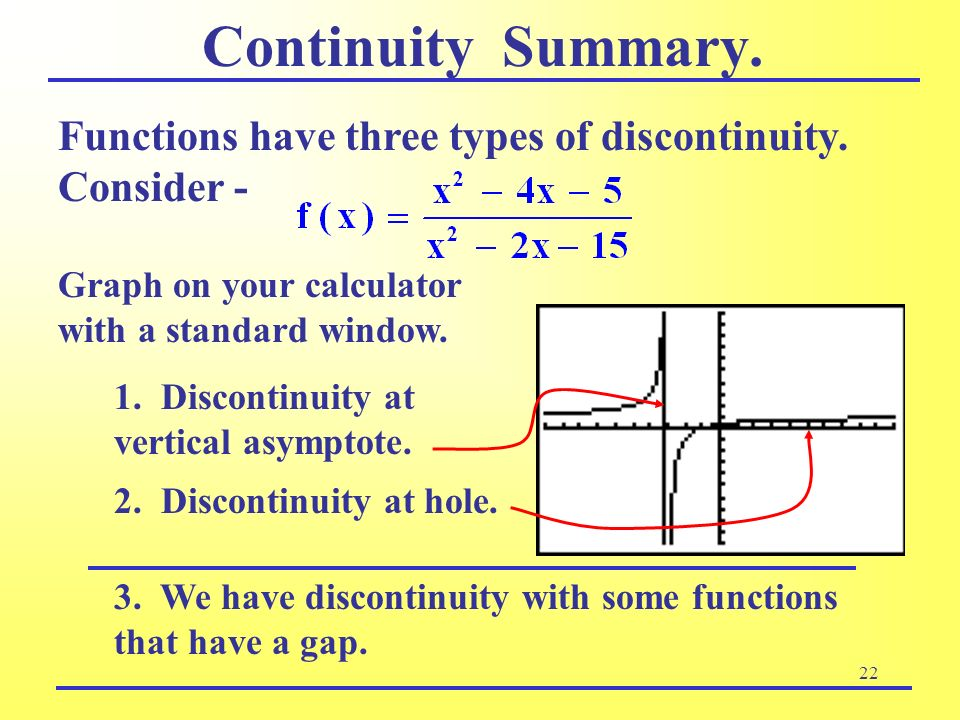 Continuity Summary. Graph on your calculator with a standard window. Functions have three types of discontinuity. Consider -