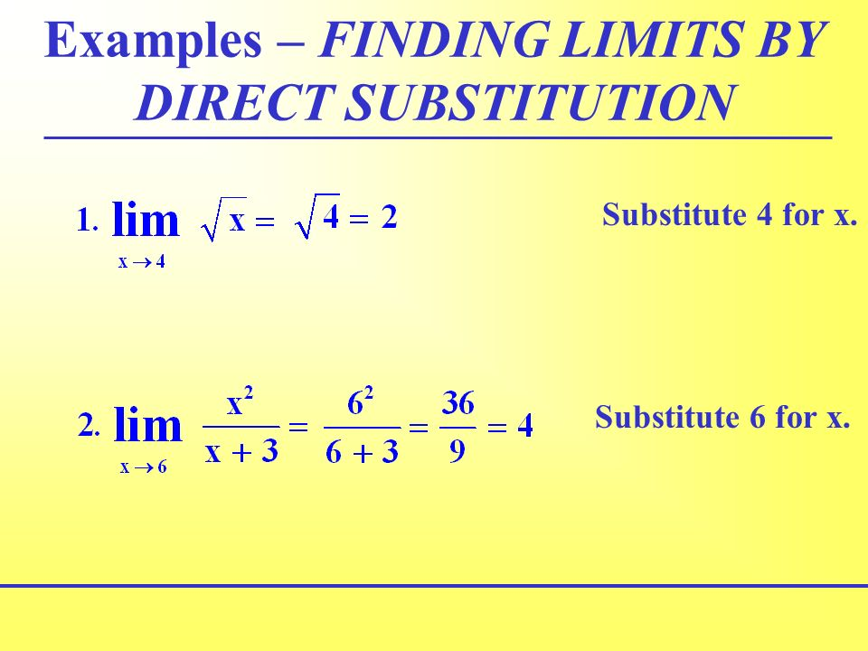 Examples – FINDING LIMITS BY DIRECT SUBSTITUTION