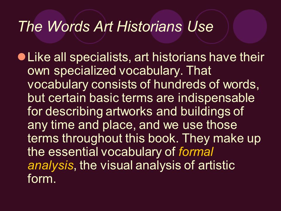 The Words Art Historians Use