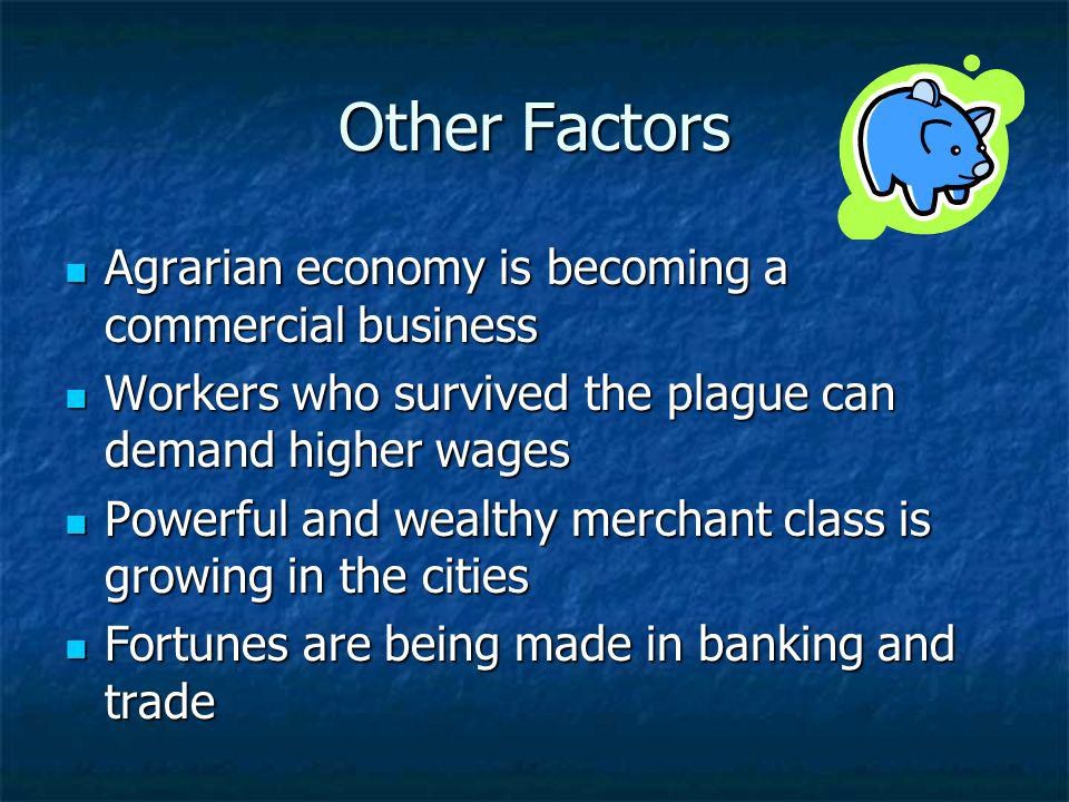 Other Factors Agrarian economy is becoming a commercial business