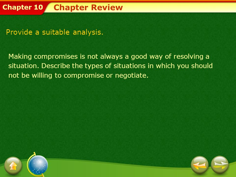 Chapter Review Provide a suitable analysis.
