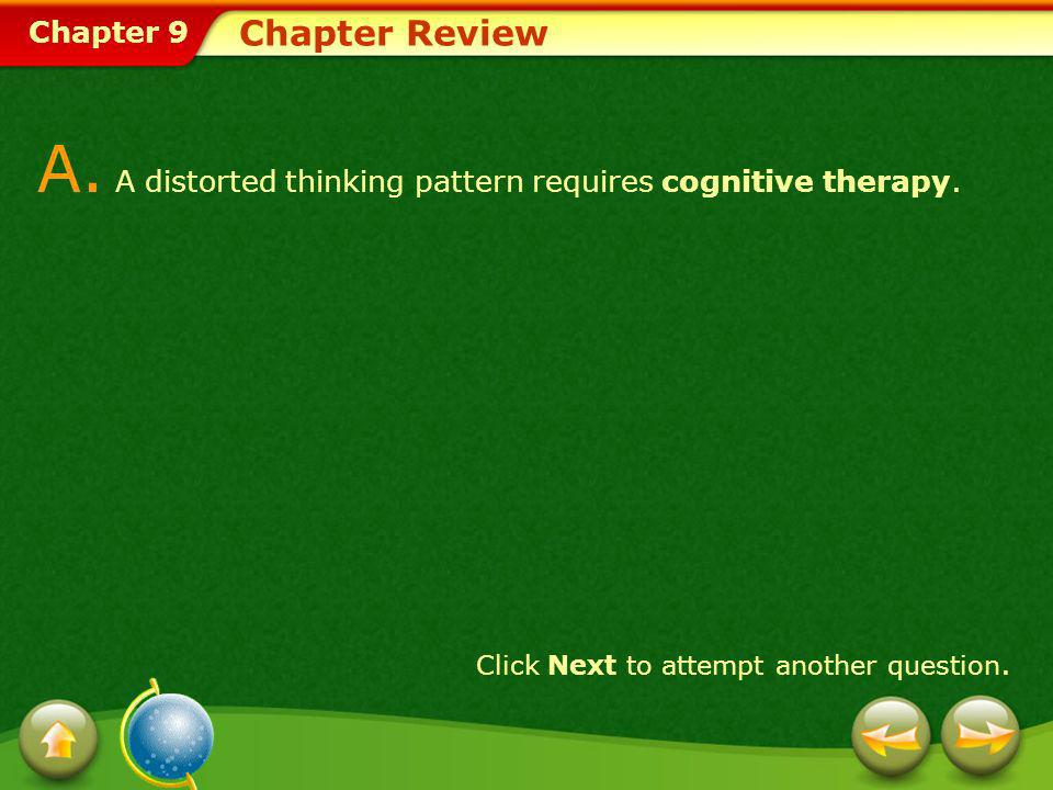 A. A distorted thinking pattern requires cognitive therapy.