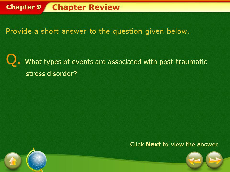 Q. What types of events are associated with post-traumatic