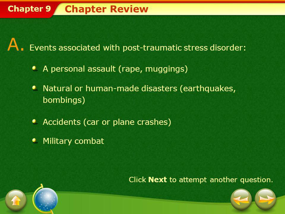 A. Events associated with post-traumatic stress disorder: