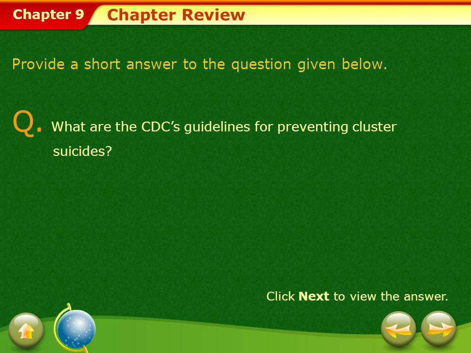Q. What are the CDC's guidelines for preventing cluster