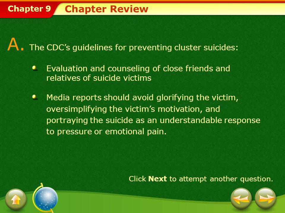 A. The CDC's guidelines for preventing cluster suicides: