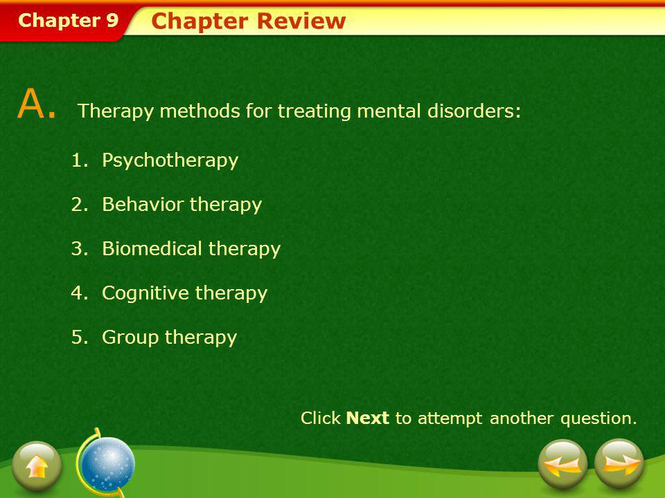 A. Therapy methods for treating mental disorders: