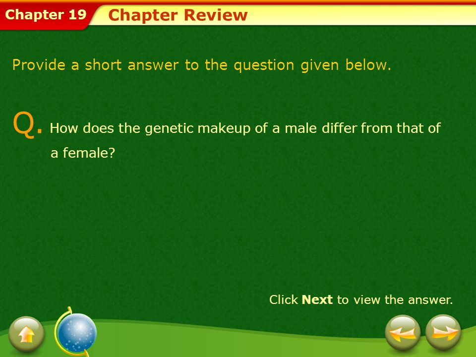 Q. How does the genetic makeup of a male differ from that of a female