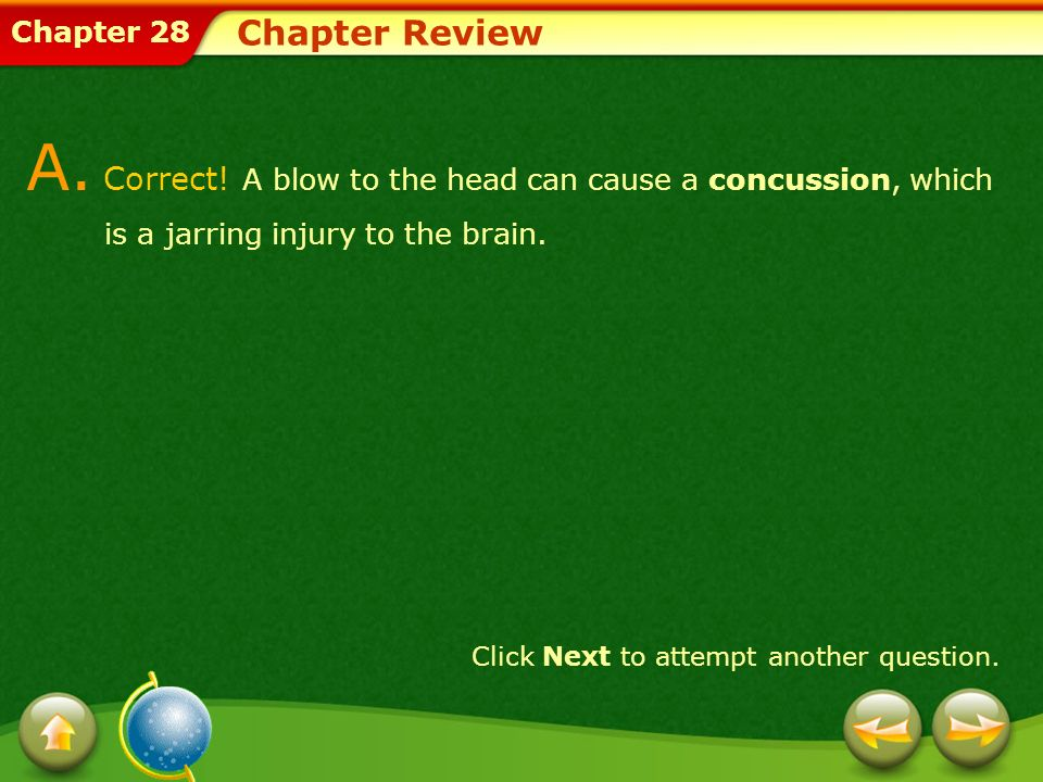 Chapter Review A. Correct! A blow to the head can cause a concussion, which is a jarring injury to the brain.
