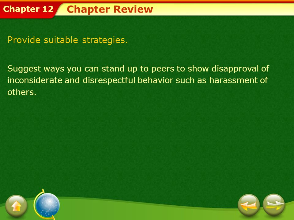Chapter Review Provide suitable strategies.