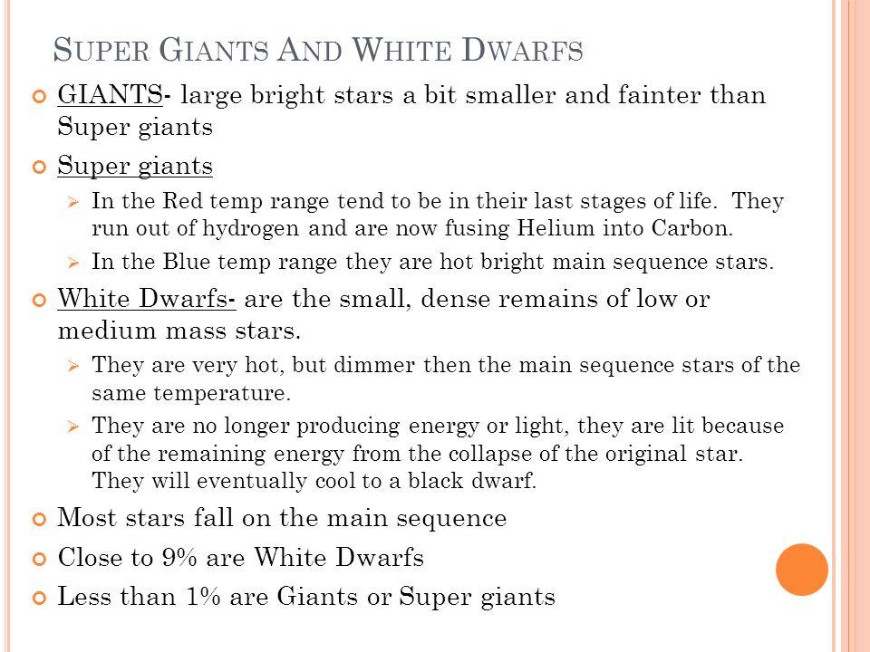 Super Giants And White Dwarfs