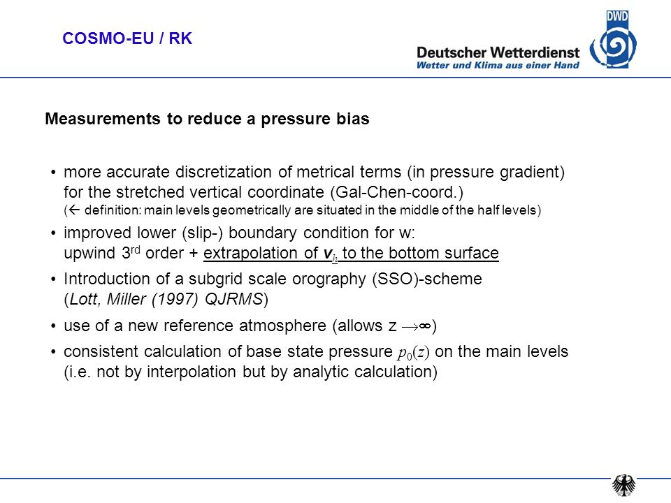 Measurements to reduce a pressure bias
