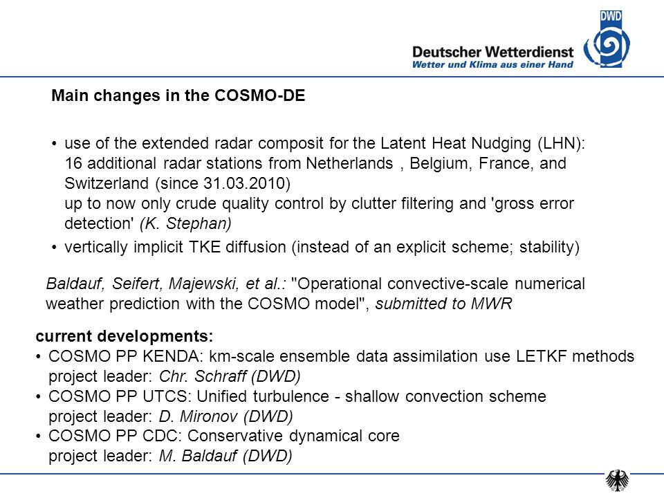 Main changes in the COSMO-DE