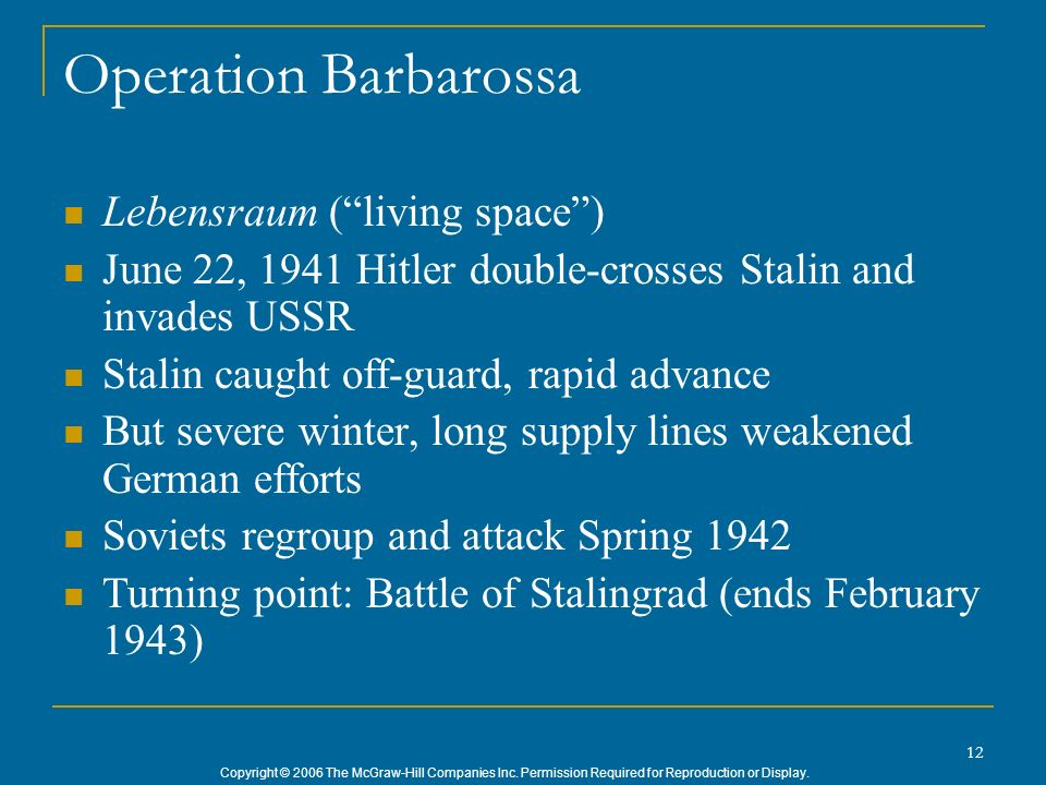 Operation Barbarossa Lebensraum ( living space )