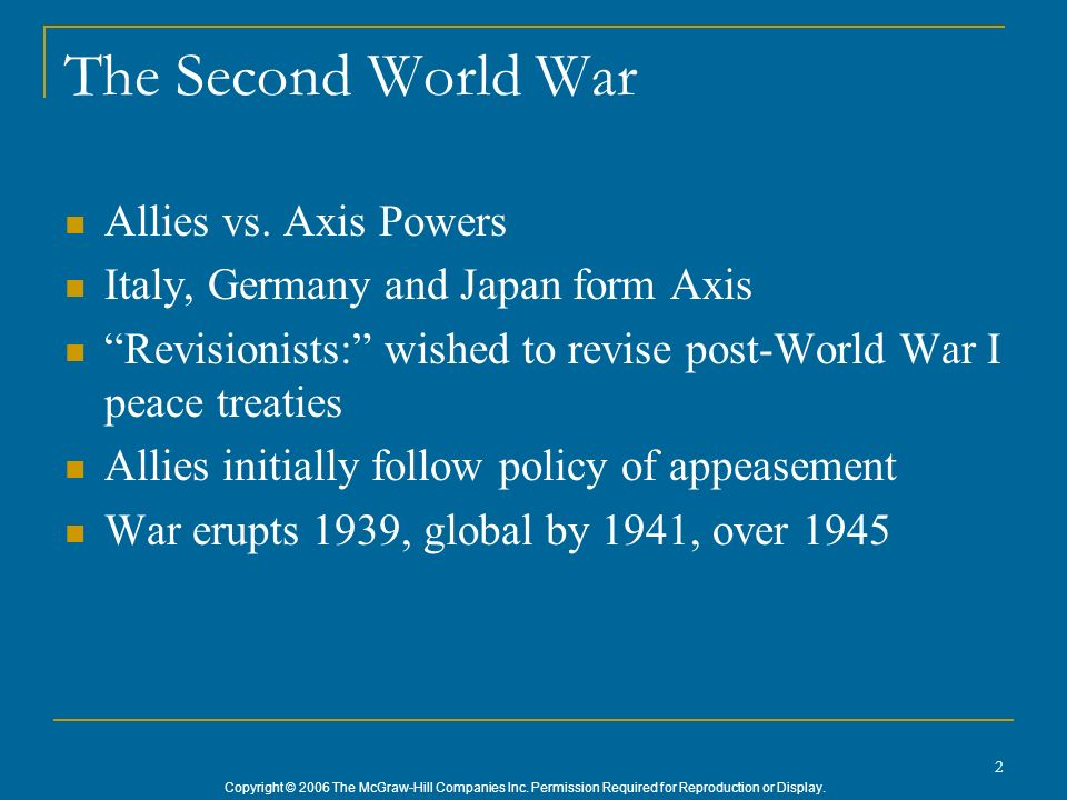 The Second World War Allies vs. Axis Powers