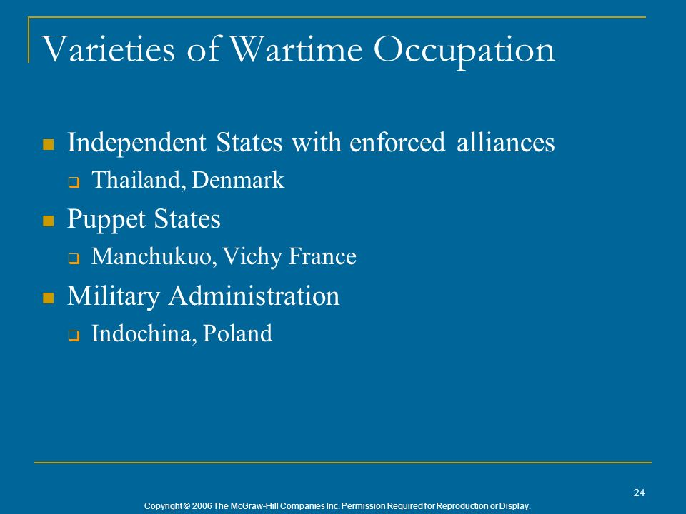 Varieties of Wartime Occupation