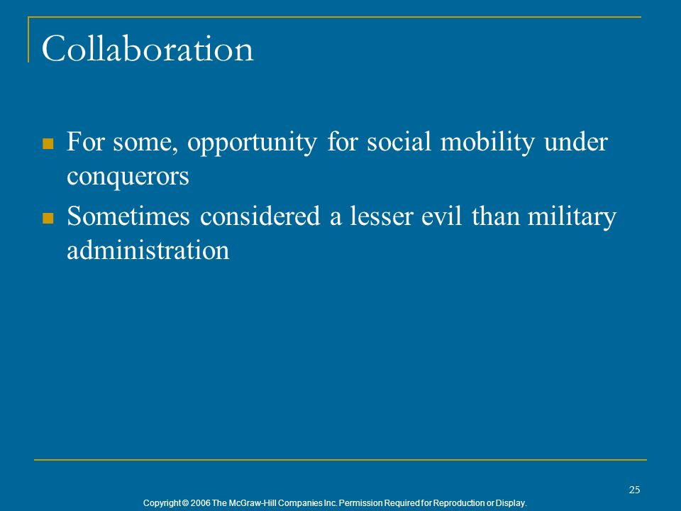 Collaboration For some, opportunity for social mobility under conquerors.
