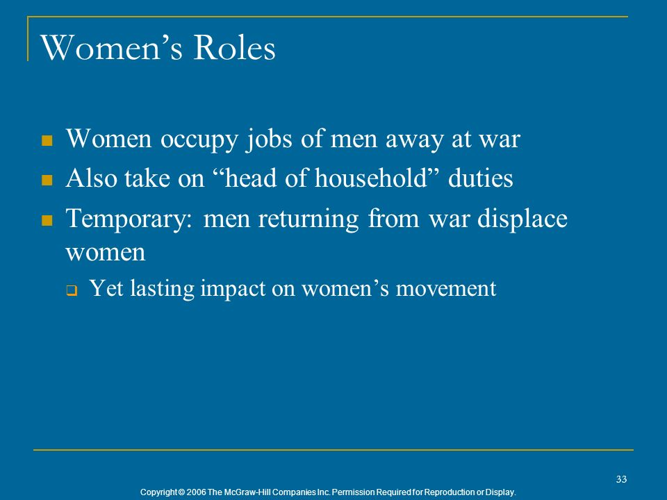 Women's Roles Women occupy jobs of men away at war