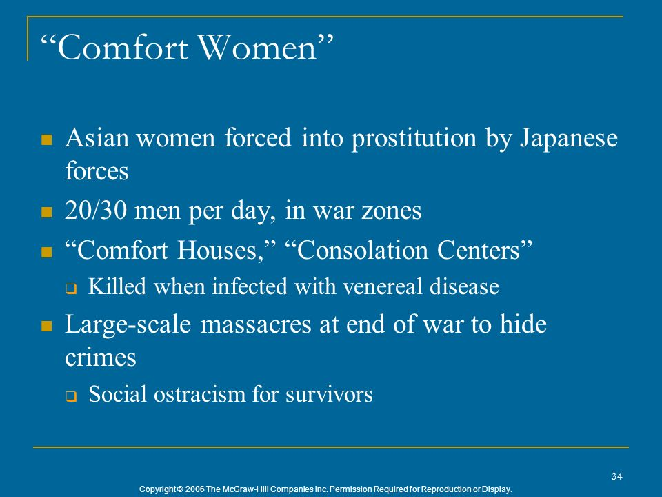 Comfort Women Asian women forced into prostitution by Japanese forces. 20/30 men per day, in war zones.
