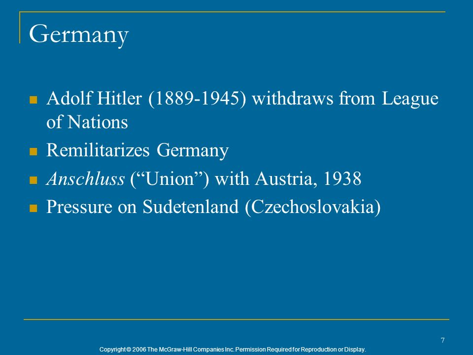 Germany Adolf Hitler (1889-1945) withdraws from League of Nations