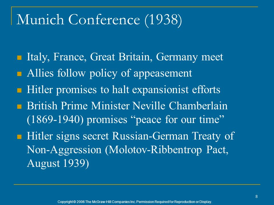 Munich Conference (1938) Italy, France, Great Britain, Germany meet