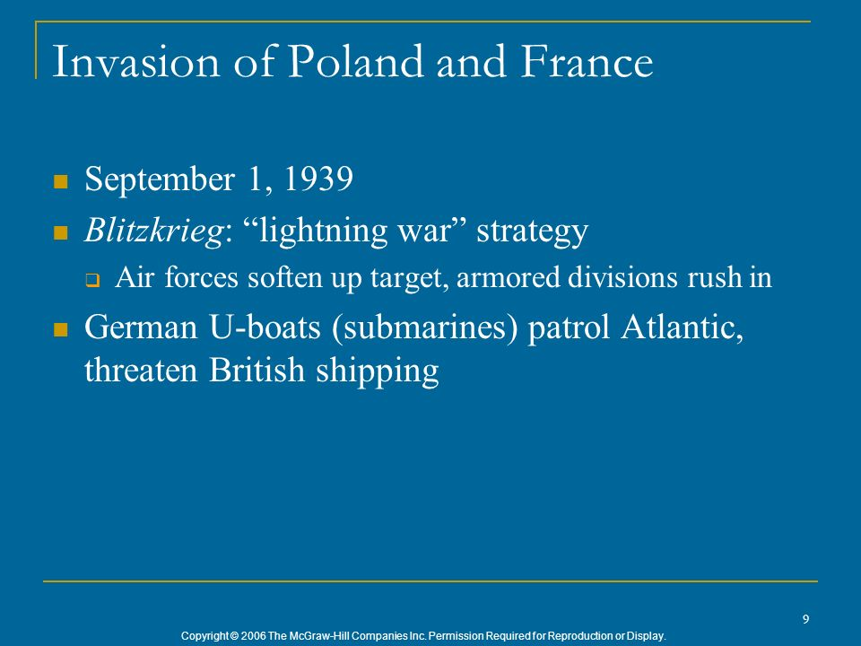Invasion of Poland and France