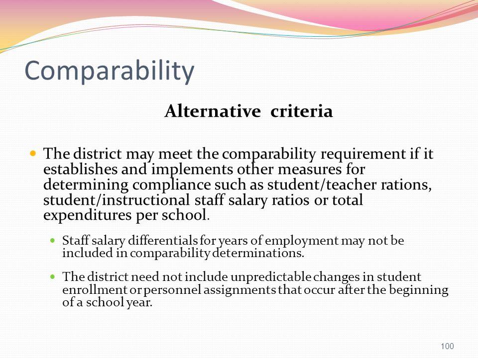 Comparability Alternative criteria
