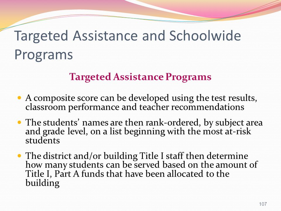 Targeted Assistance and Schoolwide Programs