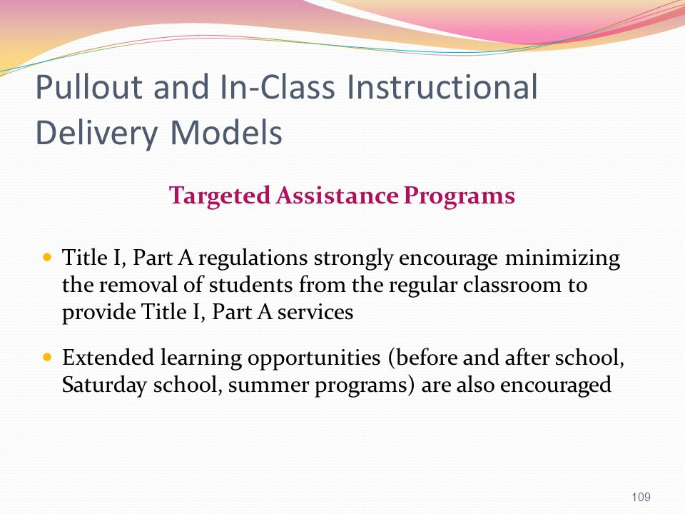 Pullout and In-Class Instructional Delivery Models