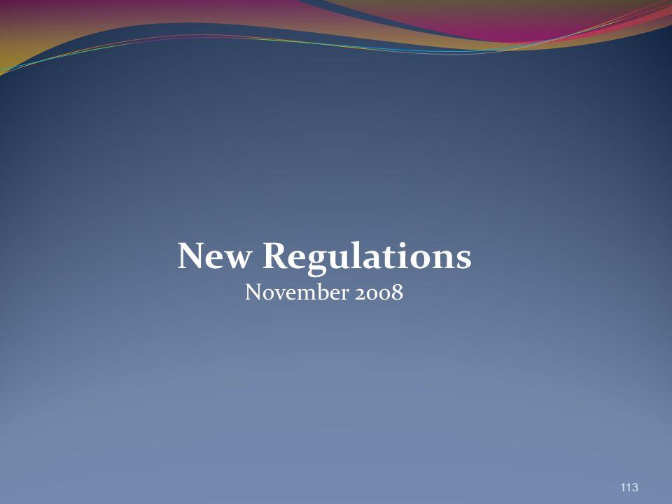 New Regulations November 2008