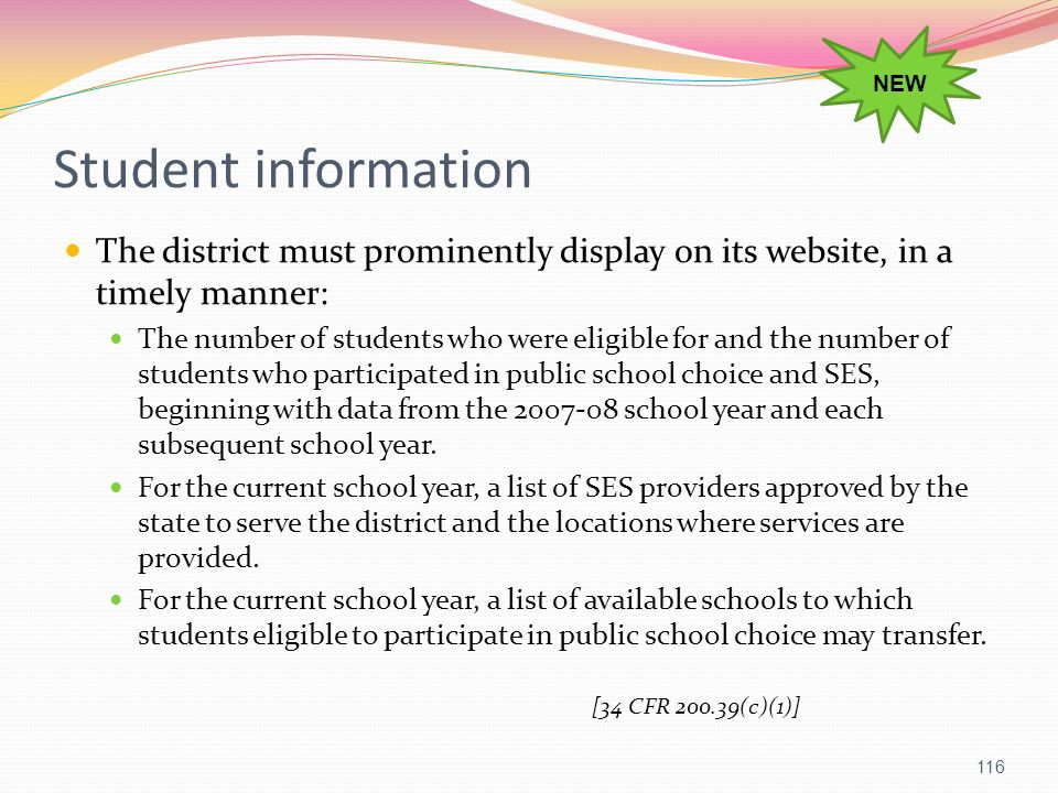 NEW Student information. The district must prominently display on its website, in a timely manner: