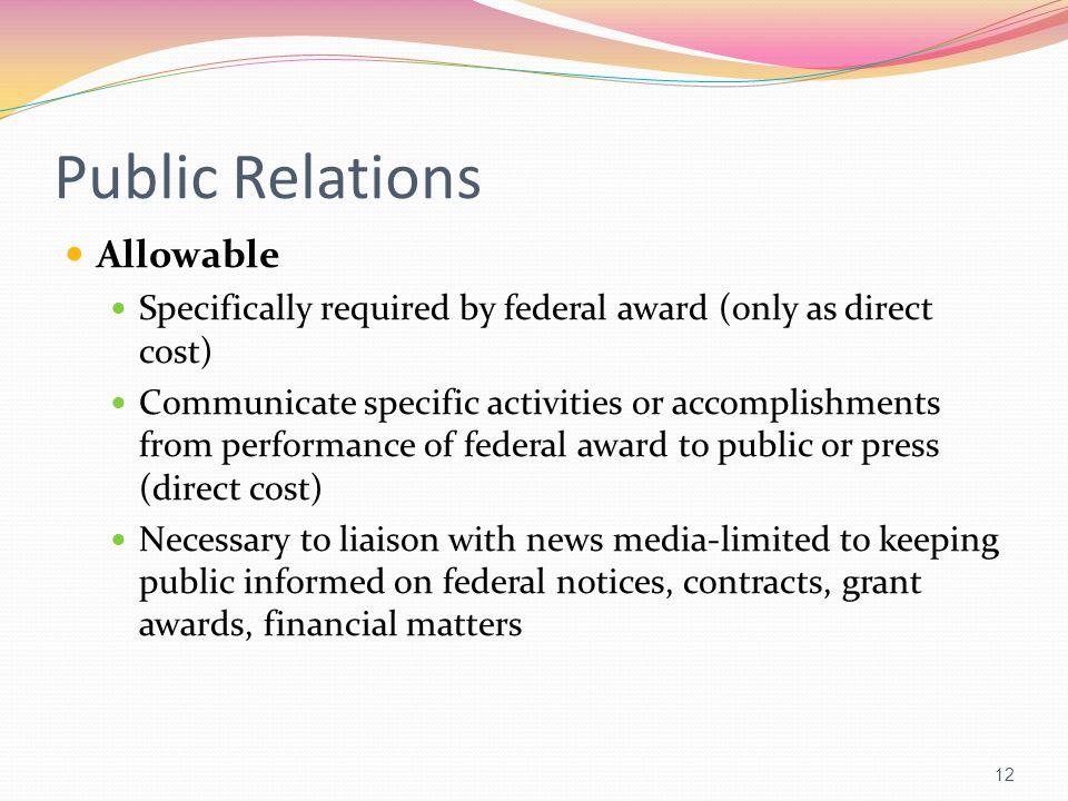 Public Relations Allowable