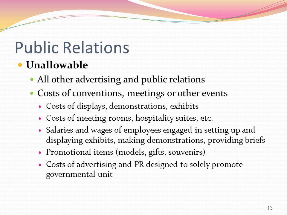 Public Relations Unallowable