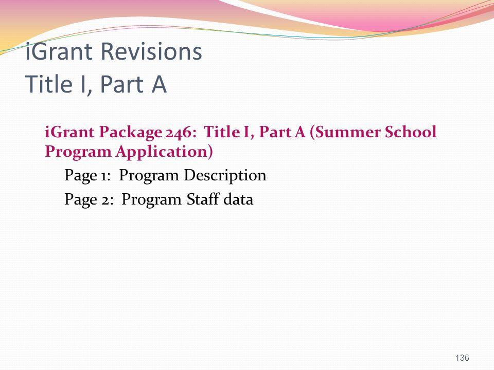 iGrant Revisions Title I, Part A