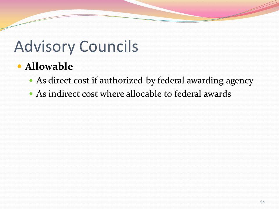 Advisory Councils Allowable