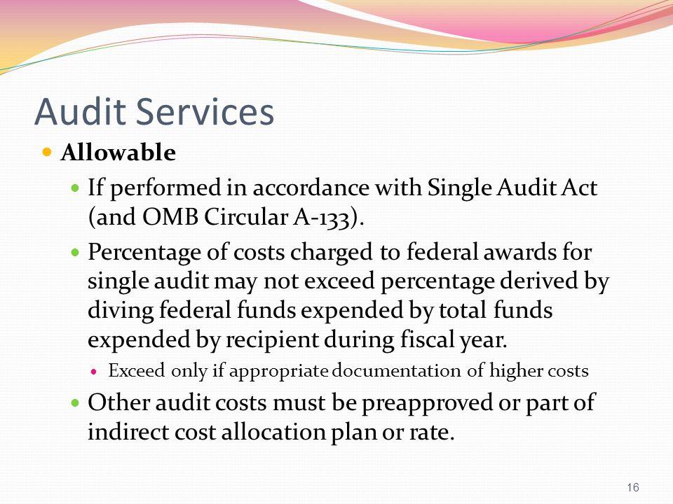Audit Services Allowable