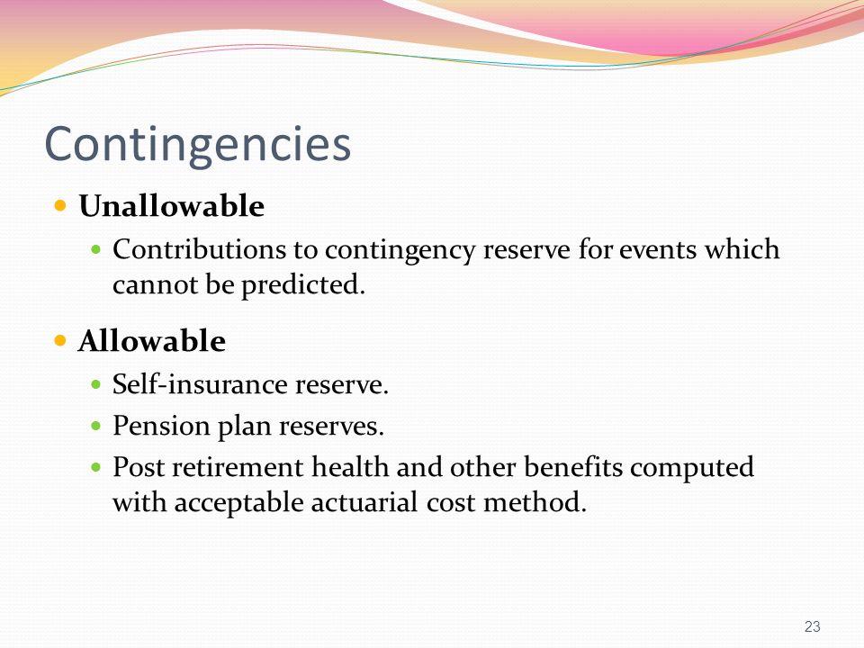 Contingencies Unallowable Allowable