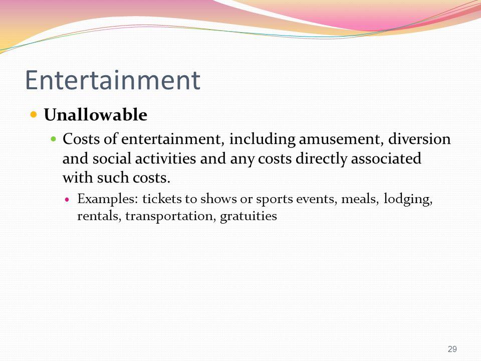 Entertainment Unallowable
