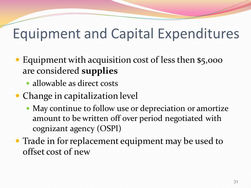 Equipment and Capital Expenditures